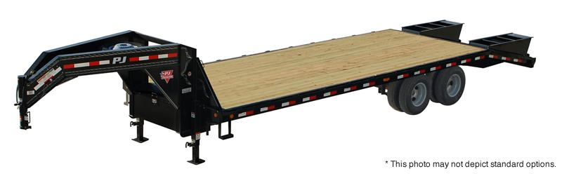 2018 102x30(25+5' Dovetail) PJ Trailers FD Classic Flatdeck with Duals Trailer - w/ 2 Flip-over Ramps (GVW: 25000)
