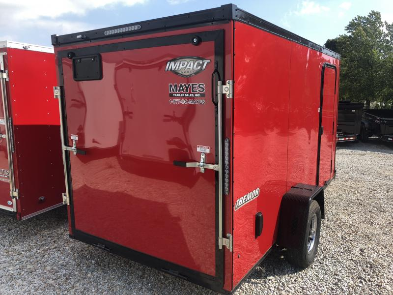 2019 6x12 Impact Trailers ITB612SA Enclosed Cargo Trailer - Red -Ramp Door (GVW:  2990#)