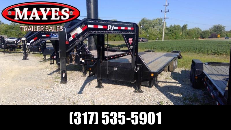Used 2019 102X27 PJ Trailers LD272 Equipment Trailer - 22+5 Low Pro Flatdeck with Duals Gooseneck (GVW:  25000)