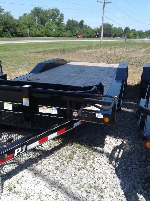 "2019 96x20(18+2' Dovetail) PJ Trailers B6 6"" Channel Super-Wide Trailer - w/ 5' Fold-up Ramp (GVW: 14000)"