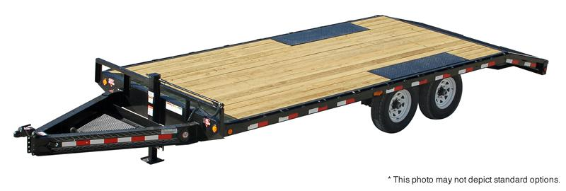 2018 96x20(16+4' Dovetail) PJ Trailers F8 Flatbed Trailer - w 4' Monster Ramps (GVW: 14000)
