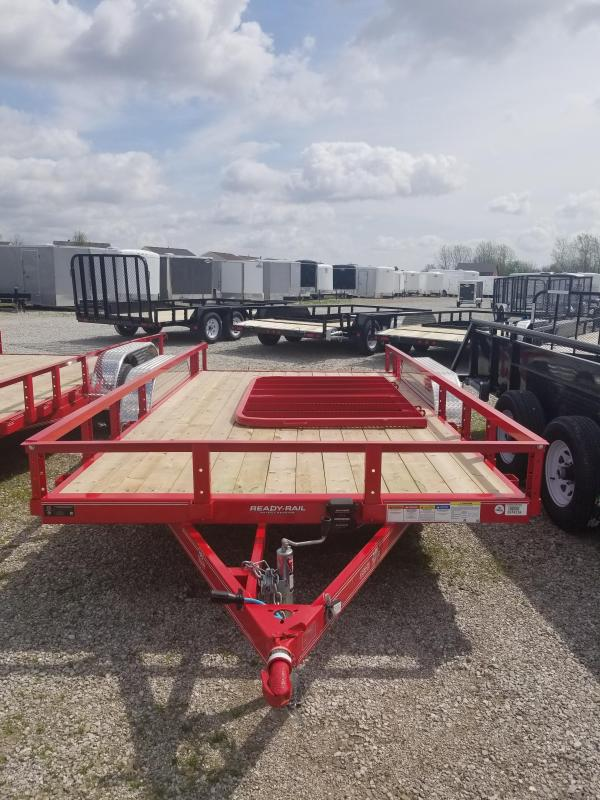 2018 83x18(16+2' Dovetail) PJ Trailers UL Trailer - w/ 4' Fold-up Gate (GVW: 7000) *Red Powdercoat* *Black Spoke Wheels*