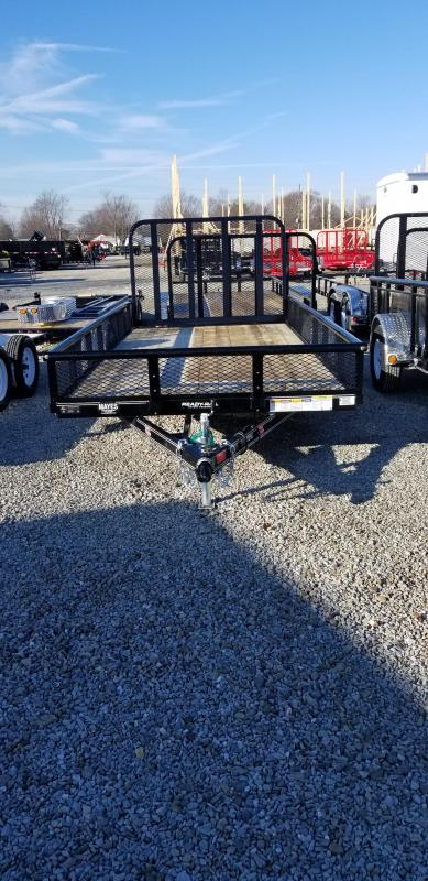 "2019 77x10 PJ Trailers U7 77"" Sngl Axle Channel Utility Trailer - w/ 4' Fold-up Gate (GVW: 2995) *Pipetop w/ 12"" Mesh Sides*"