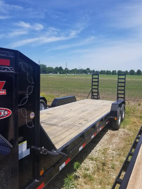 """2017 83x24(22+ 2' Dovetail) PJ Trailers CC 6"""" Channel Equipment Trailer - w/ 5' Fold-up Ramps (GVW: 15680) *Gooseneck* *USED*"""