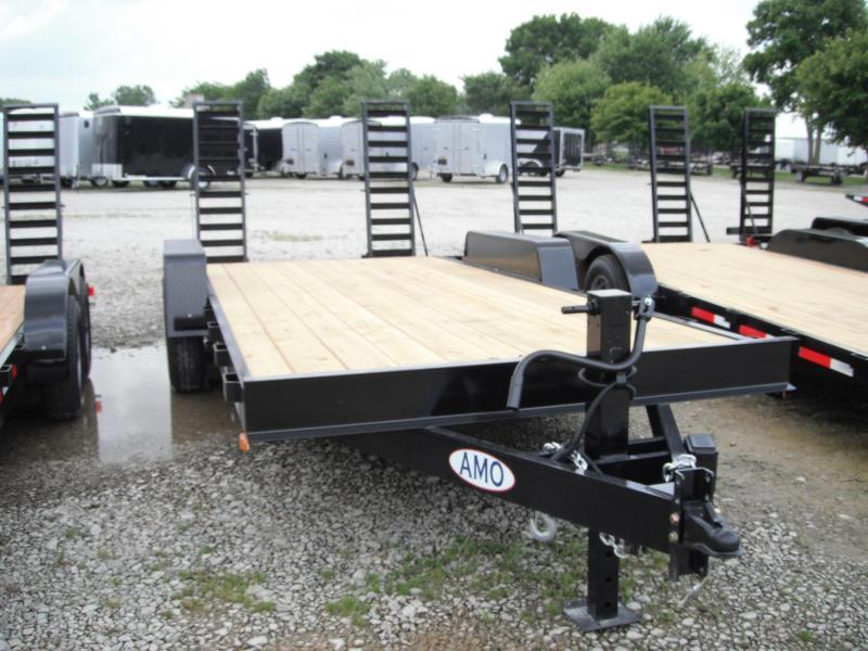 2018 82x20(18+2' Dovetail) American Manufacturing Operations A1218CE Equipment Trailers - w/ 2 Fold-up Ramps (GVW: 12000)