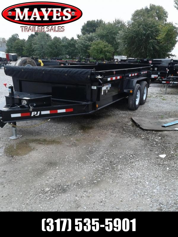 "2019 83x16 PJ Trailers DL Low Pro Dump Trailer - (Split/Spreader Gate)(Tarp Kit)(GVW: 14000)(24"" Side Extension)"