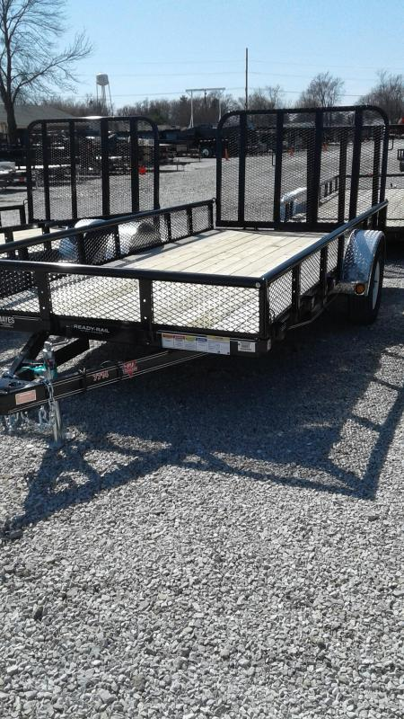 "2019 77x14 PJ Trailers U7 77"" Sngl Axle Channel Utility Trailer - w/ 4' Fold-up Gate (GVW: 2995) *Pipetop w/ 12"" Mesh Sides*"