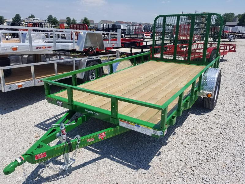 "2019 72x12 PJ Trailers U2 72"" Sngl Axle Channel Utility Trailer - Straight Deck w/ 4' Fold-up Gate (GVW: 2995) *Tractor Green*"