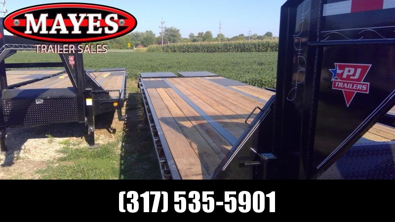 2020 102x25 Foot (20+5) TA PJ Trailers LD252 Equipment Trailer - Gooseneck - Flip Over Monster Ramps (GVW:  25000)