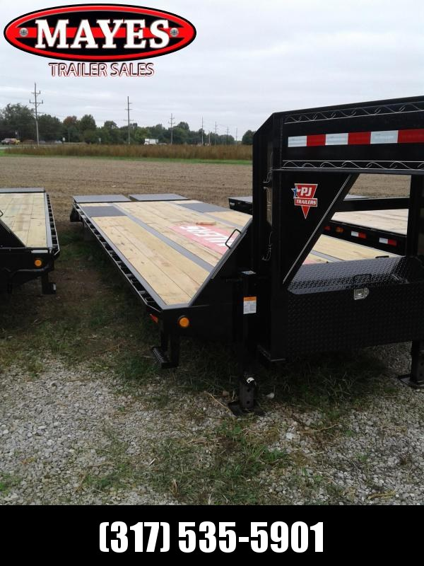 2019 102x32 (27+5) PJ Trailers LD322 Equipment Trailer Gooseneck - Monster Ramps - GVW:  25000)