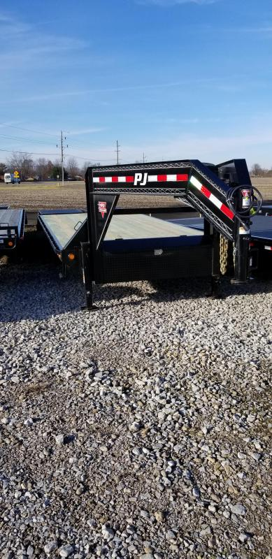 2019 102X25' (20+5)  PJ Trailers 25' Classic Flatdeck with Singles Monster Ramps Trailer - (GVW:  15680) Gooseneck