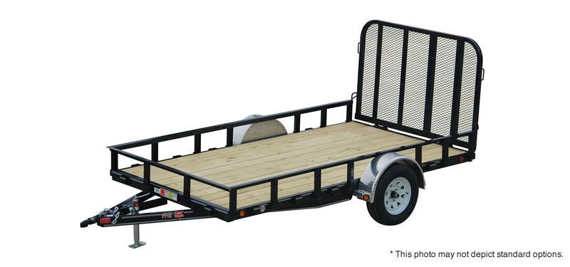 "2019 77x14 PJ Trailers U7 77"" Single Axle Channel Utility Trailer - Straight Deck w/ 4' Fold-up Gate (GVW: 2995) *Desert Tan* *Black Wheels*"