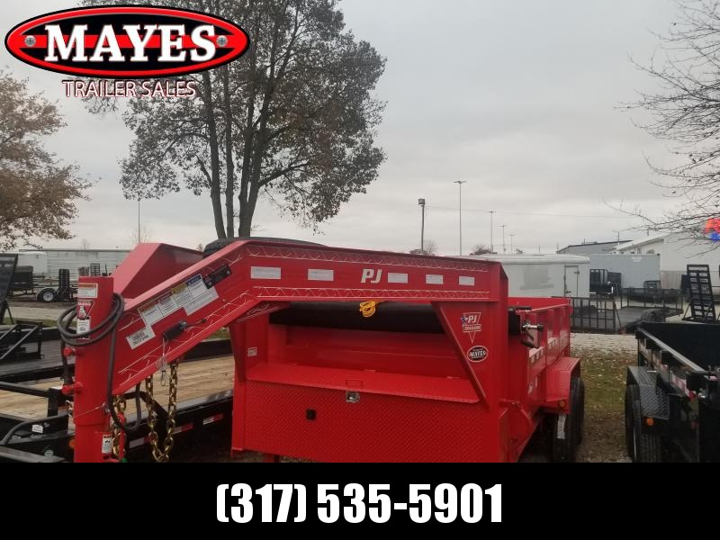 2019 **RED** 83x14 Low Pro High Side PJ Trailers DM142 Dump Trailer - Gooseneck - Tarp Kit - 3' Tall Sides (GVW:  15680)