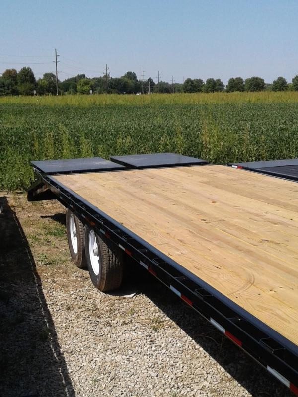 2019 102x30 (25+5' Dovetail) PJ Trailers Classic Flatdeck with Singles Trailer - w/ 2 Flip-over Monster Ramps (GVW: 15680)