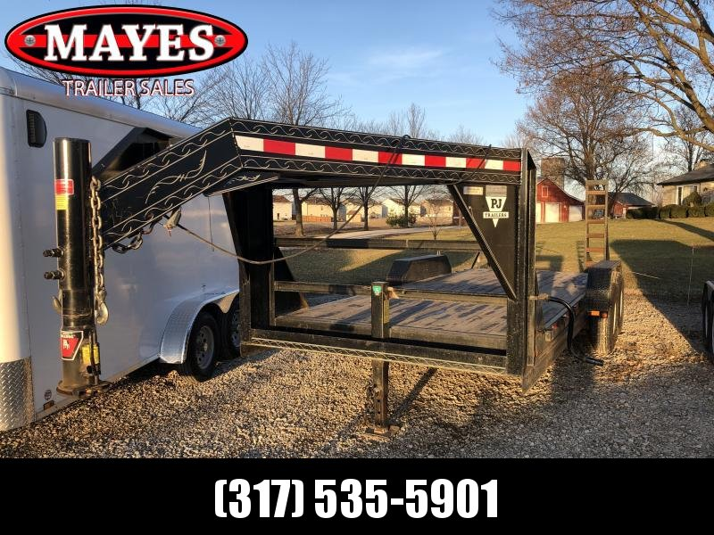Used 2002 20' Gooseneck PJ Trailers GF20 Equipment Trailer - Stand Up Ramps (GVW:  14000)