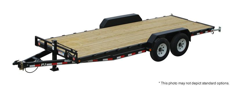 "2020 22' (20+2) TA Gooseneck PJ Trailers 22'x6"" Channel Equipment Trailer - HD Fold Up Ramps (GVW:  15680)"