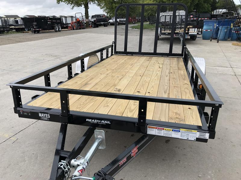 2020 72x12 SA PJ Trailers U2121 Utility Trailer - Straight Deck - 4 Foot Fold Up Gate (GVW:  2995)