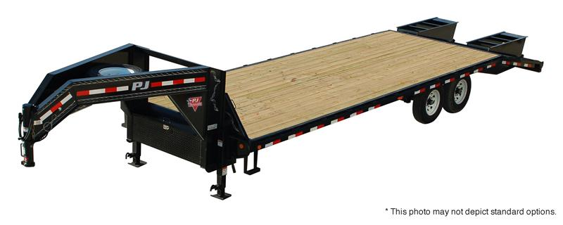 "2020 96""X28' (23+5) Gooseneck PJ Trailers 28' Classic Flatdeck with Singles Trailer - Monster Ramps (GVW:  15680)"