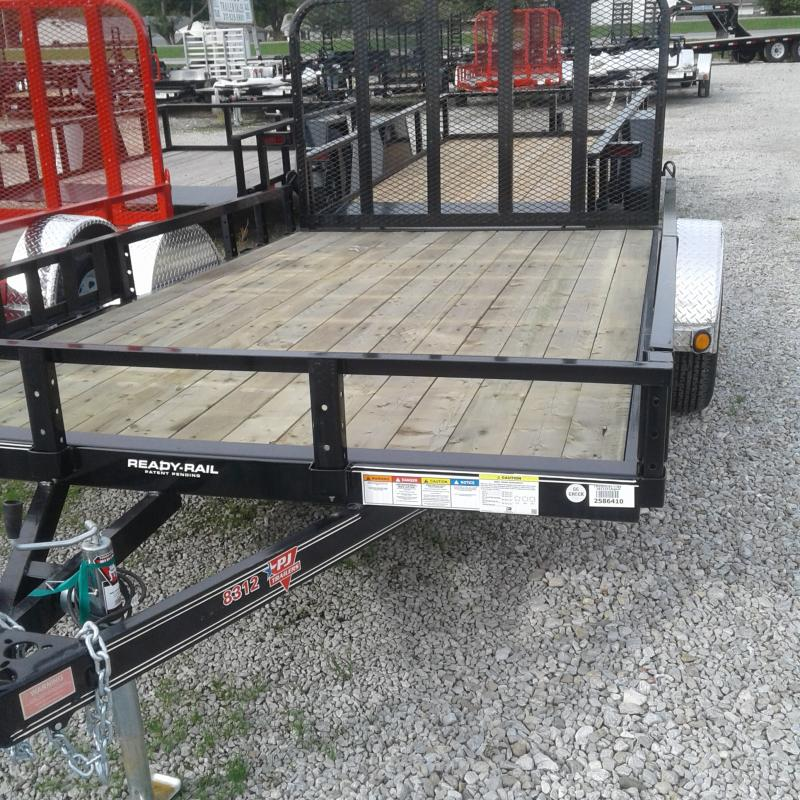 2019 83x12 PJ Trailers U8 Utility Trailer - Straight Deck w/ 4' Fold-up Gate (GVW: 2995)(ATV Ramps)