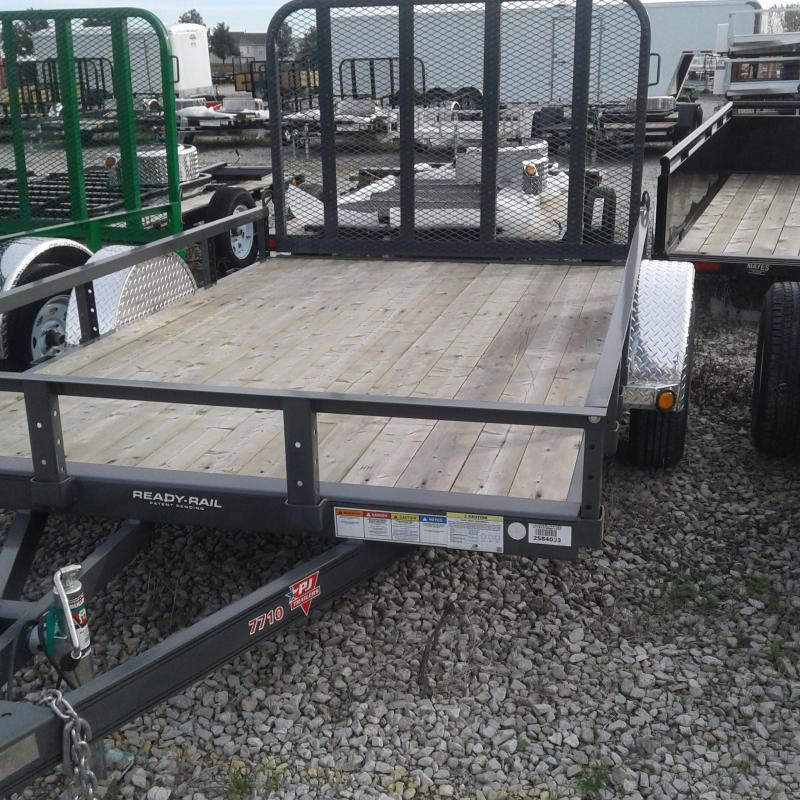 "2019 77x10 PJ Trailers U7 77"" Single Axle Channel Utili Trailer - Straight Deck w/ 4' Fold-up Gate (GVW: 2995) *Grey Powdercoat* *Black Spoke Wheels*"