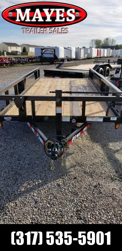 2019 83x18 PJ Trailers P8 Pipetop Equipment Trailer - Straight Deck w/ 5' Slide-in Ramps (GVW: 14000)