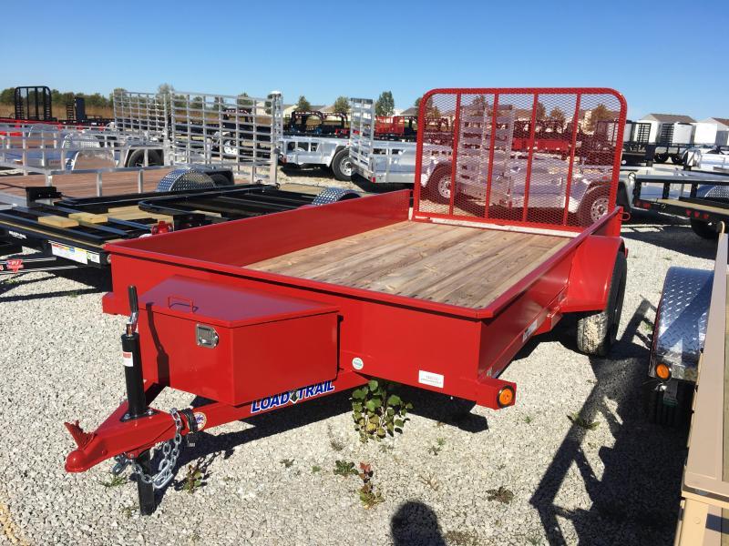 2018 77x12 Load Trail SS77 Utility Trailer - w/ 4' Fold-up Gate (GVW: 3000) *Red Powdercoat* *Black Wheels*