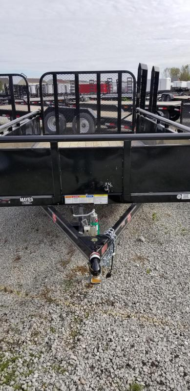 "2019 77x12 PJ Trailers U7 77"" Single Axle Channel Utility Trailer - Straight Deck w/ 4' Fold-up Gate (GVW: 2995)(22"" Solid Metal Sides)"