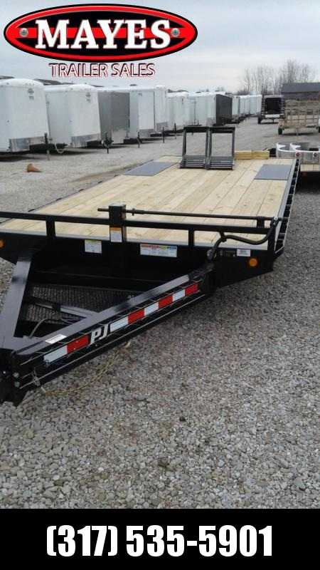"2019 22' (19+3) 8"" I-Beam DeckoverPJ Trailers F8222 Equipment Trailer - 16""x60"" Fold Up Ramps (GVW:  14000)"