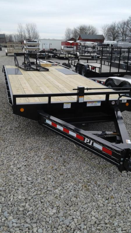 "2019 22' (19+3) 8"" I-Beam DeckoverPJ Trailers F8222 Equipment Trailer - 16""x60"" Fold Up Ramps (GVW:  14000)"