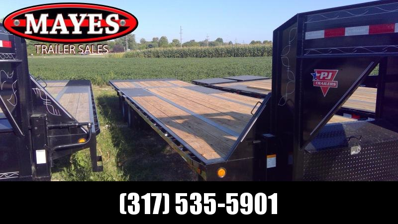 2020 102x32 Foot PJ Trailers LY322 Equipment Trailer - Tool Box - Gooseneck - Hydraulic Dove (GVW:  25000)