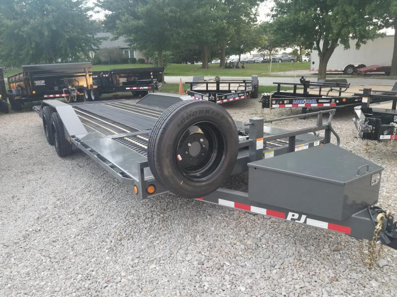 "2019 102x22(6' Stationary + 16' Tilt) PJ Trailers TS 6"" Channel Super-Wide Tilt Trailer - Grey Powdercoat (GVW: 14000)"