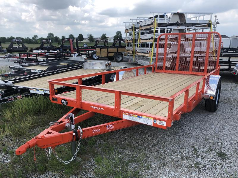 "2019 77x14 PJ Trailers U7 77"" Single Axle Channel Utili Trailer - Straight Deck w/ 4' Fold-up Gate (GVW: 2995)(Tractor Orange)"
