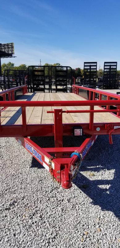 2019 83x22(20+2' Dovetail) Load Trail CH22 Tandem Carhauler Car / Racing Trailer - w/ 4' Split HD Gate (GVW: 14000) *Red Powdercoat*