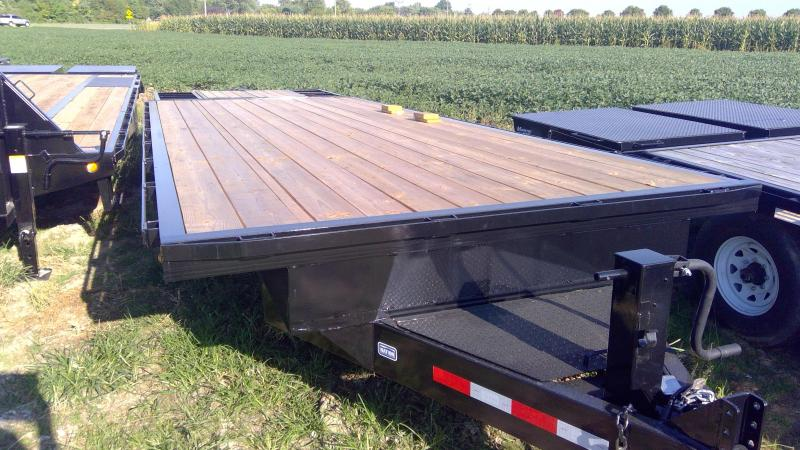 2019 Nation Tank and Trailer 102X25 DECKOVER Equipment Trailer - 10 Inch C-Channel Frame - 12K Drop Leg Jack - Flip-Over Ramps with Center Pop-Up (GVW:  14000)
