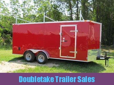 7 X 18 Red V Nose Enclosed Cargo Trailer with Ladder Racks