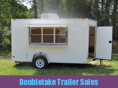 6 X 14 V-Front White Concession Trailer w Extra Door in V and AC Trailer