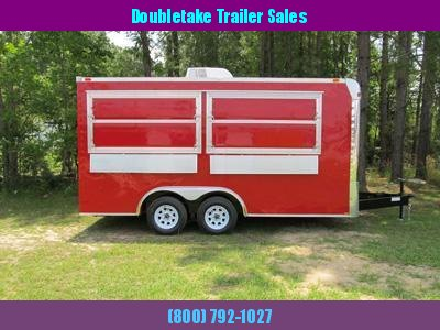 8 x 16 Red Concession Trailer with 2 Serving Windows