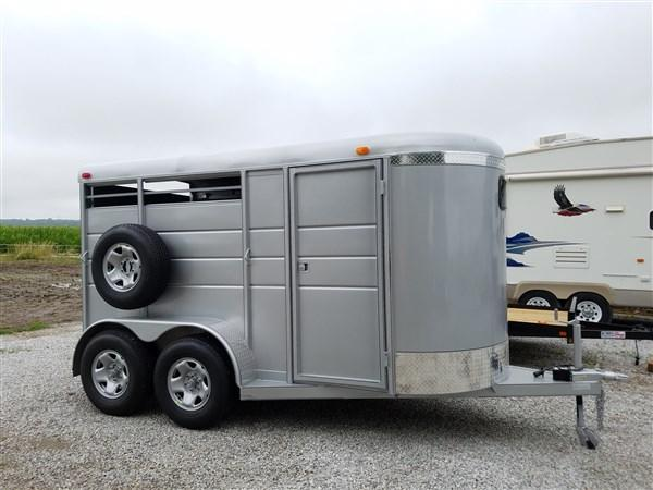 "Calico 6 x 6'6"" x 13 2H BP Slant Load Horse Trailer w/ Drop Down Windows"