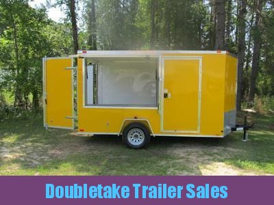 7 x 12 Yellow Concession Trailer w Single Serving Window