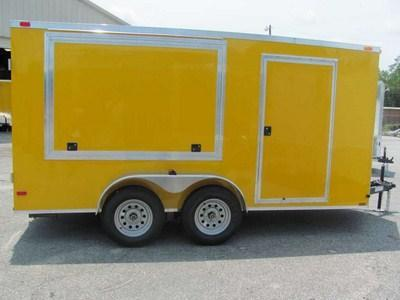 7 X 14 Yellow V Nose Vending Trailer - Concession Traile