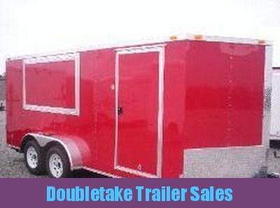 7 X 16 Red Enclosed Concession Trailer - Vending Trailer