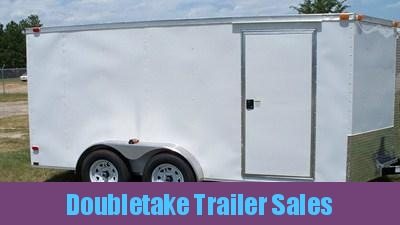 7 X 14 White V Nose Enclosed Trailer