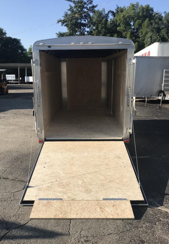 "2018 American Hauler 6x12' Enclosed Cargo Trailer 2990# GVW ALC612SA * PEWTER * RAMP DOOR * ROUND TOP * SCREWLESS * STABILIZER JACKS * 16"" O.C. FLOORS/WALLS/CEILING * CLEARANCE - FREE ALUMINUM WHEELS"