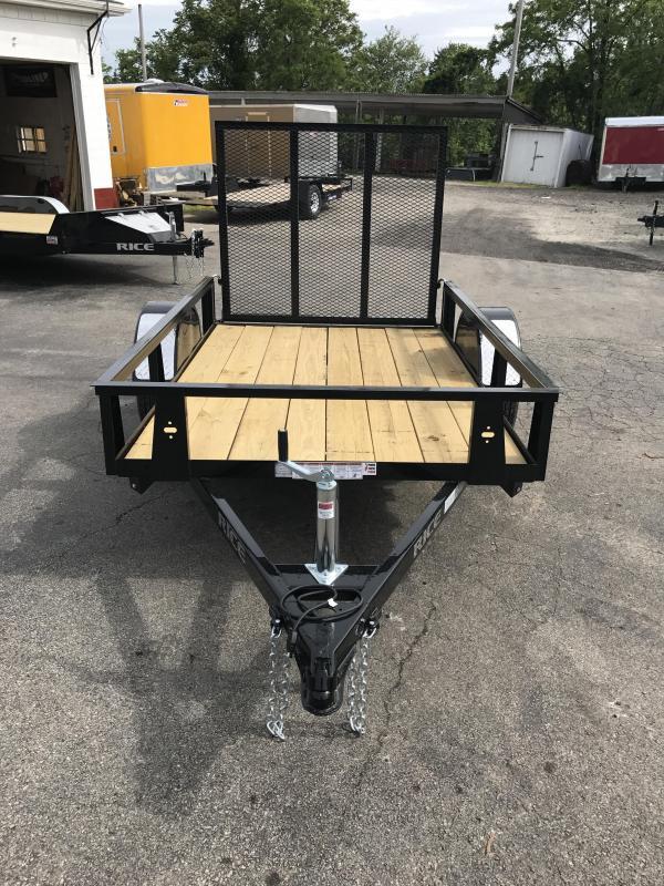 2018 Rice 5x8' Angle Iron Utility Landscape Trailer 2990# GVW RS58 * SET BACK JACK * BULLET LED'S * TUBE GATE