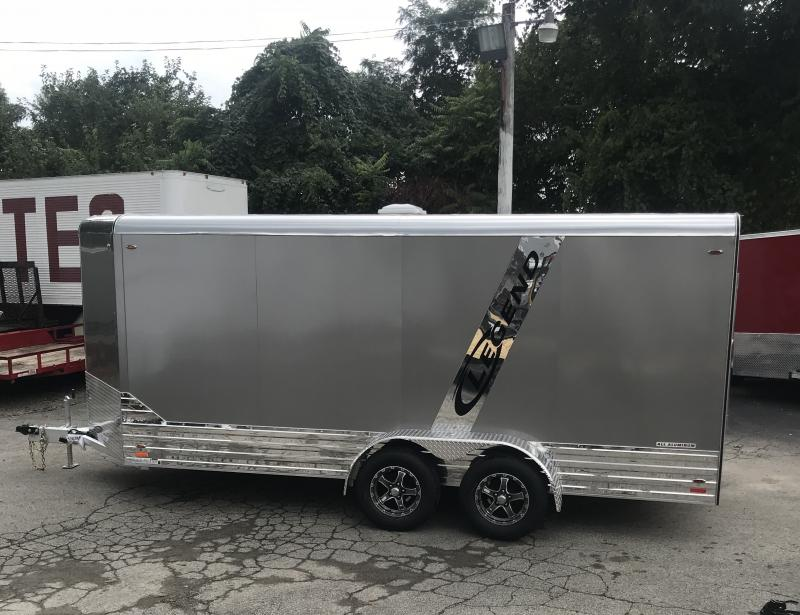 "2019 Legend 7x19' Deluxe Aluminum Enclosed Cargo Trailer 719DVNTA35 * PEWTER W/ ANODIZED BOTTOM * 6'6"" HEIGHT * FINISHED WALLS * TORSION * ALUMINUM WHEELS * STAINLESS HARDWARE * ACCENT STRIPE * ATP FENDERS * V-NOSE * ROUND TOP"