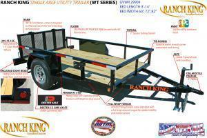 "2019 Ranch King 12' X 6'10"" Utility Trailer  ******HAVE EVERY SIZE YOU MAY NEED IN STOCK******"
