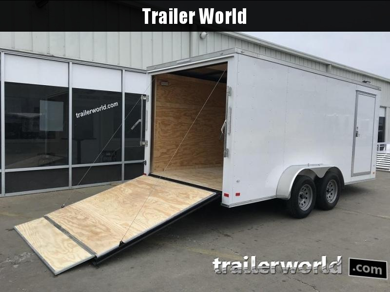 "2019 CW 7' x 16' x 6'3"" Vnose Enclosed Cargo Trailer Ramp Door"