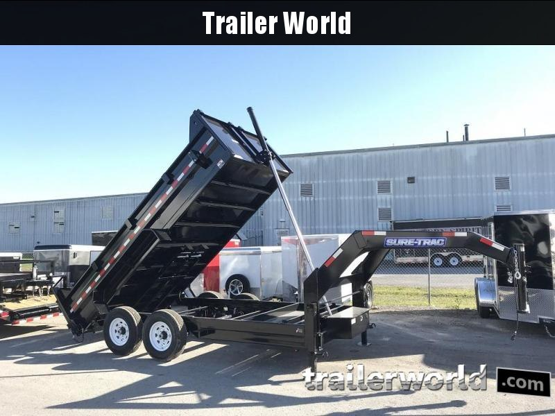 2018 Sure-Trac 14' Gooseneck Dump Trailer Telescopic Hoist  14k GVWR