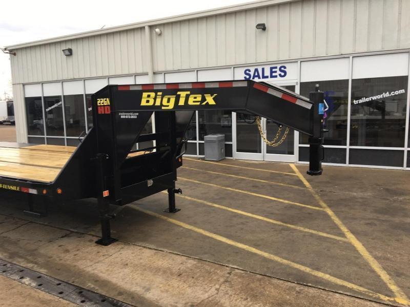 2019 Big Tex Trailers 22GN-20' + 5' Gooseneck Flatbed Trailer MEGA Ramps