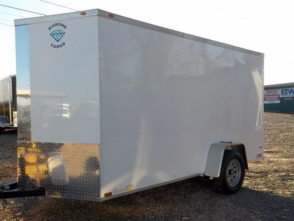2019 Diamond Cargo 6 x 12 Enclosed Cargo Trailer WITH RAMP IN WHITE in Winnsboro, SC